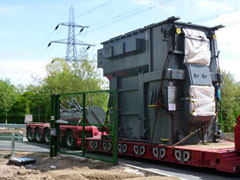Delivery of first transformer to heavy load bay